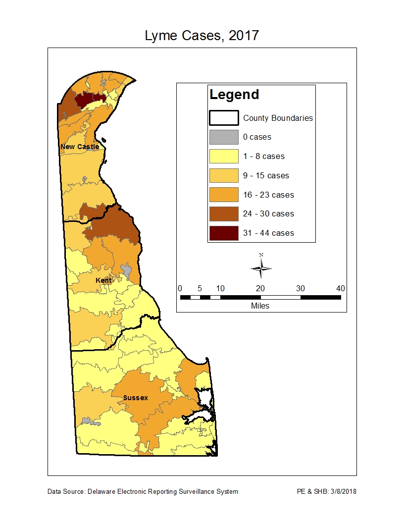 delaware specific map of 2017 lyme cases